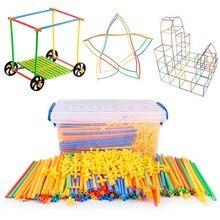 Blocos magnéticos 4d diy, palha de plástico, luta, inserida, kits de construção, blocos de brinquedo educativo para crianças