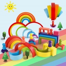 Wooden Toys Building-Blocks Montessori Rainbow Game Early-Educational-Toys Creative Kids