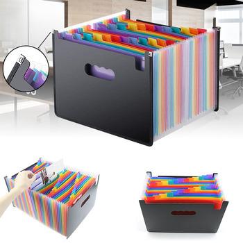 13 kieszenie duża tęcza A4 Folder na dokumenty rozbudowy Organizer na dokumenty samodzielna teczka biznesowa 33*23 5*3 5cm tanie i dobre opinie ZHY-001 multicolor 13 pockets File Folder