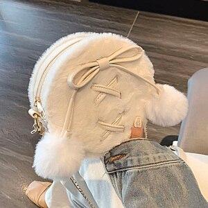 Image 5 - ラウンドフェイクファーのかわいいpuレザーファッションの女性のショルダーバッグクロスボディバッグ財布とハンドバッグfemaelカジュアルハンドバッグ