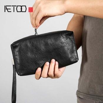 AETOO Leather retro wallet handbag mens hand clutch bag cowhide handmade casual leather zipper long