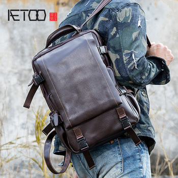 AETOO Backpack first layer cowhide large capacity computer bag leisure travel bag original real leather men's backpack aetoo original shoulder bag leather retro backpack business computer bag head layer leather travel male bag college wind