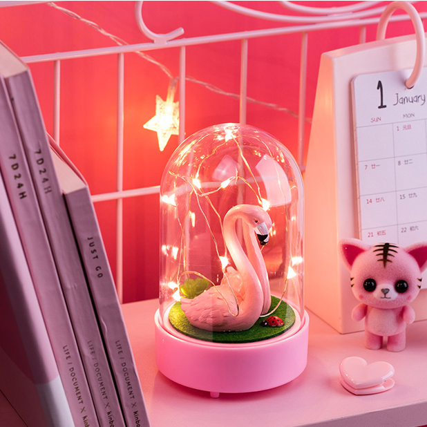 Creative Flamingo Night Light Girl Room Layout Vibrato Lamp Bedroom Decoration Net Pink Red Decoration Photo Lamps Romantic Gift