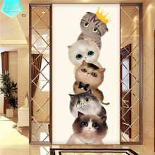 PSHINY 5D DIY Diamond embroidery sale Cartoon cute cats animal Full drill round rhinestones picture Painting new arrival