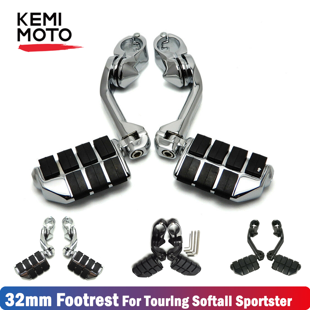 Motorcycle highway foot pegs 32mm Footrest Long Short For Touring Road Electra Road King Electra Glide Softail Dyna in Foot Rests from Automobiles Motorcycles