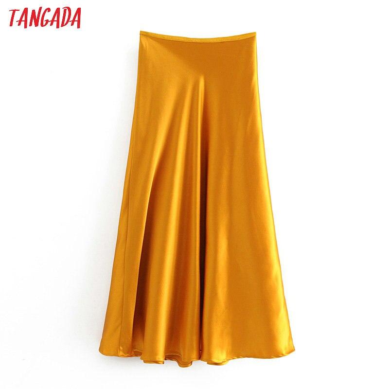 Tangada Women Silk Look A-line Midi Skirt Faldas Mujer Vintage Side Zipper Office Ladies Elegant Chic Mid Calf Skirts 6A13
