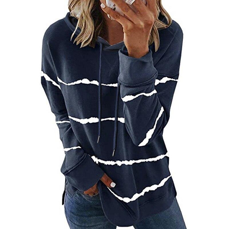 Oversize Women Tie Dye Drawstring Hooded Sweatshirt Autumn 2020 New Winter Long Sleeve Casual Loose Hoodies Tops Plus Size S-5XL 8