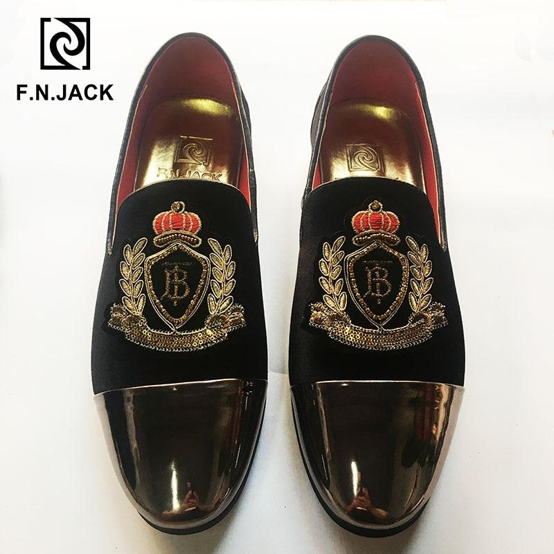 F.N.JACK Shoes New Arrival Classic Black Velvet Men's shoes Casual Rubber Loafers for Man Vintage Decoration Zapatos de hombre