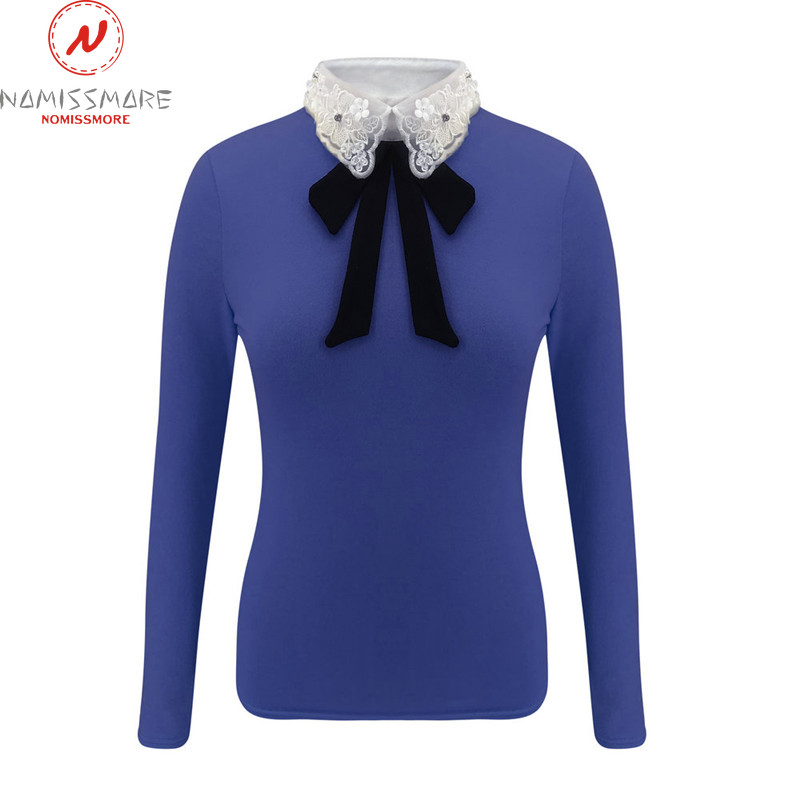 Women Long Sleeve T-Shirts for Streetwear Patchwork Design Bow Lace Diamond Decor Turn-down Collar Long Sleeve Solid Slim Top