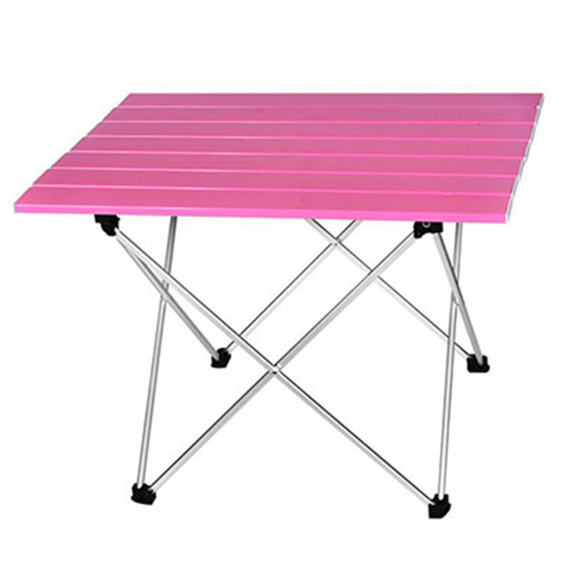 Portable Table Foldable Folding Camping Hiking Table Travel Outdoor Picnic Aluminum Super Light Pink S