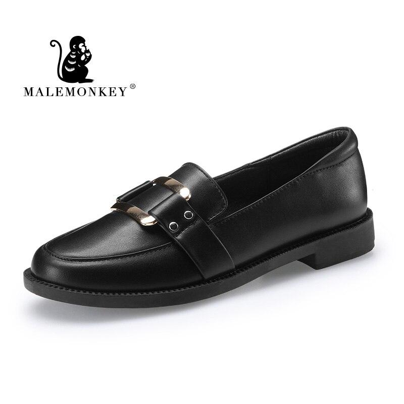 Новинка; женские туфли лодочки на низком каблуке; Цвет черный, бежевый; лоферы из натуральной кожи на толстом каблуке; мягкая удобная обувь с металлическим украшением и квадратным носком|Туфли|   | АлиЭкспресс