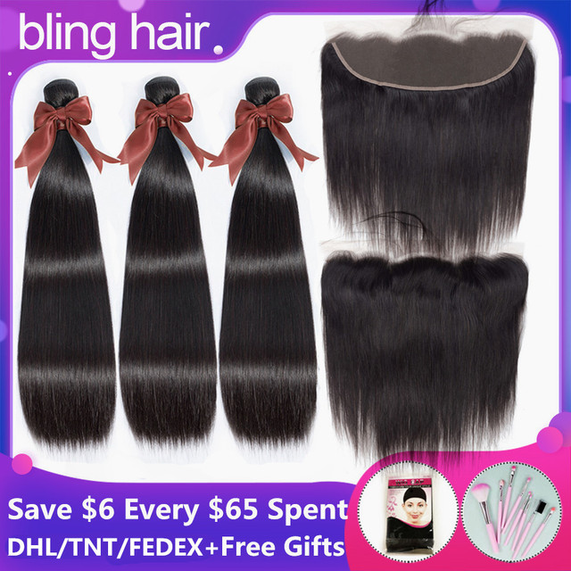 Bling Hair 8 30 Inch Straight Hair Bundles With Closure 13*4 Lace Frontal Malaysian Remy Human Hair Weave Bundles With Closure