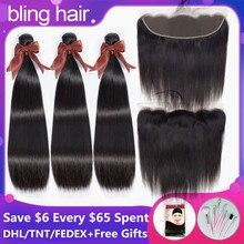 Bling saç 8 30 inç düz saç demetleri ile kapatma 13*4 dantel Frontal malezya Remy insan saçı örgüsü demetleri kapatma ile