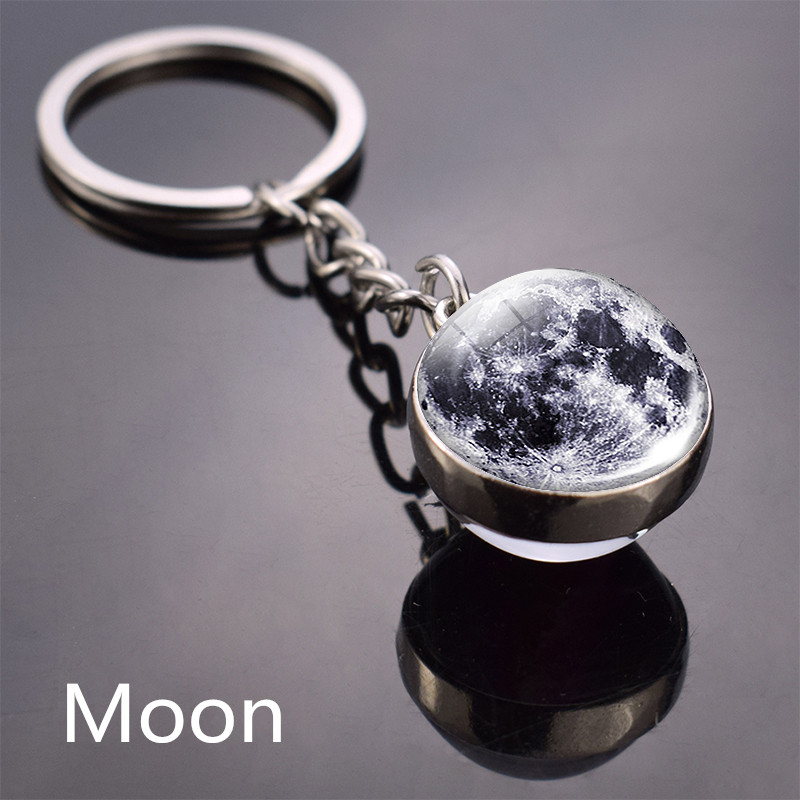 Full Moon Keychain Nebula Pendant Solar System Glass Cabochon Long Keyrings Galaxy Space Astronomy Planet Gift Jewelry