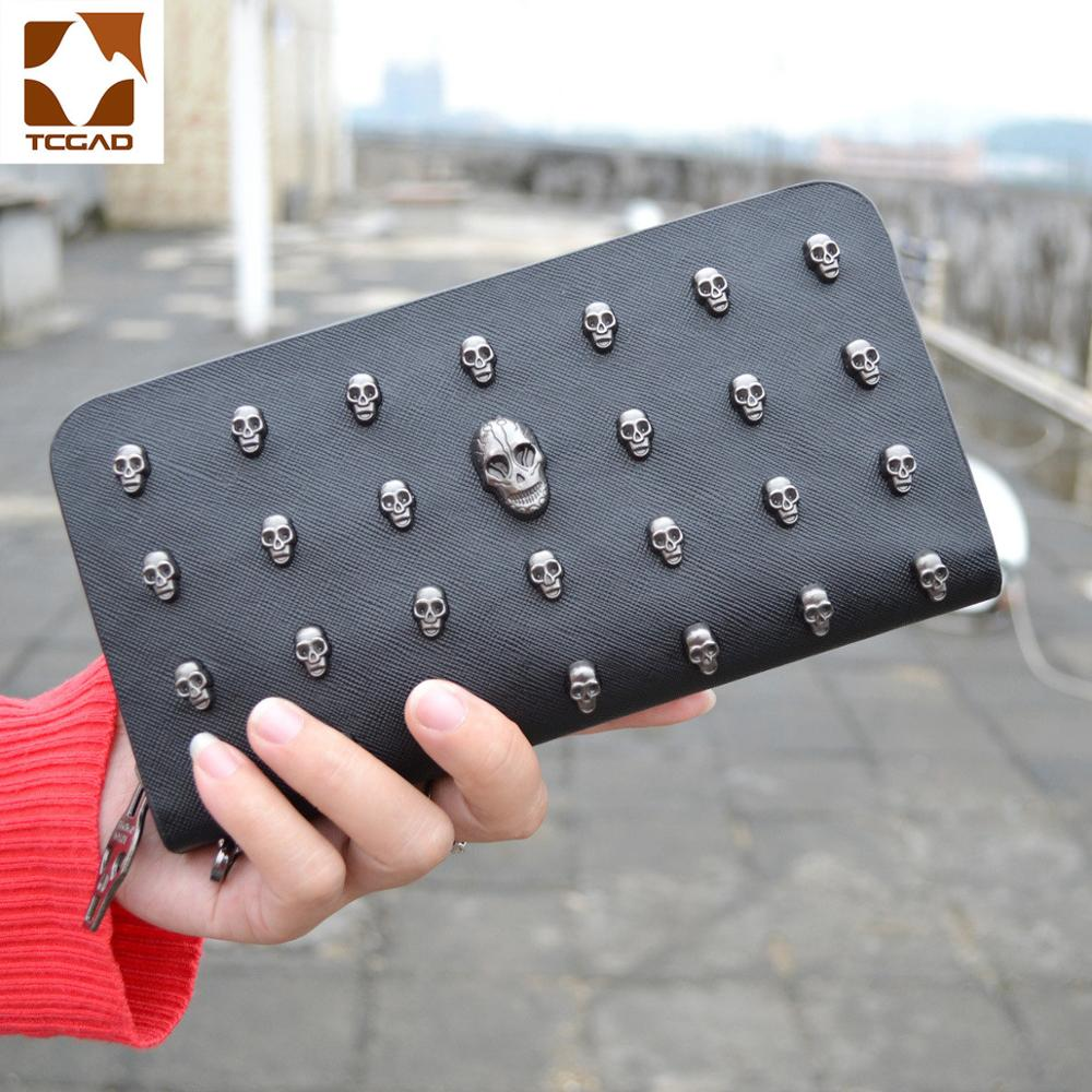 Skull Wallet Man Leather Bag Skull Purse Clutch Bags Rivets Leather Purse Zipper Pochette Uomo Punk Wallet Carteras Personalized