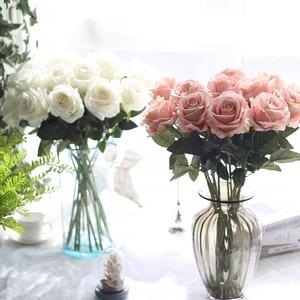 Image 3 - 10pcs/lot Artificial Rose Flowers Bouquet Real touch Penoy 1 Bunch Silk flowers Arrange Table flores for Home Wedding Decoration