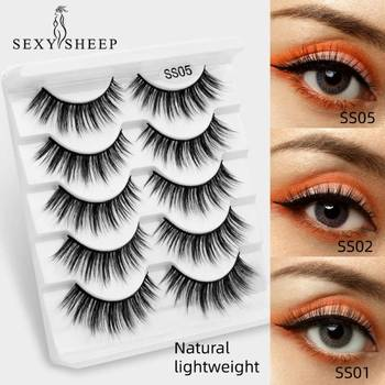 SEXYSHEEP 5pairs 3D Mink False Eyelashes Natural Thick Lashes Handmade Soft Eyelashes Makeup Eyelashes Extension 1