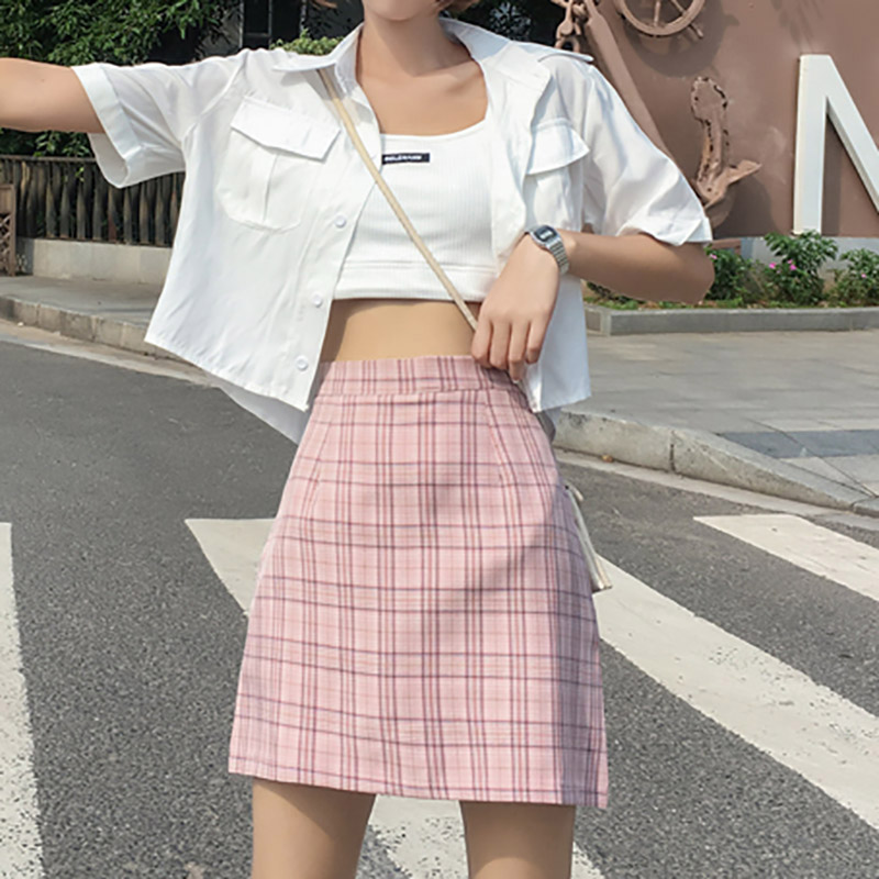 Women Summer Casual mini Skirts Vintage High Waist A-Line Wild Plaid Print Skirt