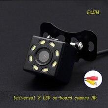 Ezzha universal 8 led câmera do carro hd ccd visão noturna câmera de visão traseira do automóvel 170 grande angular backup estacionamento veículo câmera