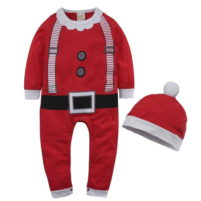 2019 Christmas Baby   Rompers   with Hat Infant Santa Claus Long Sleeve Jumpsuit Boys Party Costume