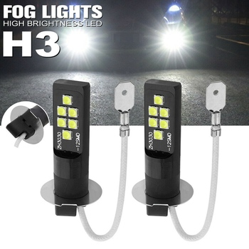 Lcyonger 1 Pair H3 LED Bulb 3030 SMD 6000K White Car Fog Light High Bright Driving Lamp Car Accessories Lamp