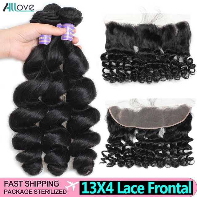 Allove Loose Wave Bundles With Frontal Human Hair 3 Bundles With Frontal Indian Hair Bundles With Closure Non Remy Lace Frontal