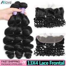 Loose גל Weave עם סגירת הודי שיער חבילות עם סגירת Allove שיער טבעי חבילות עם סגירת תחרה אמצע חלק ללא רמי