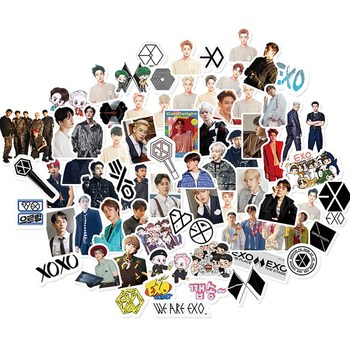65PCS/Lot KPOP EXO Adhensive Stickers for Luggage Skateboard Phone Laptop Bicycle Wall Guitar DIY Scrapbooking - discount item  20% OFF Stationery Sticker
