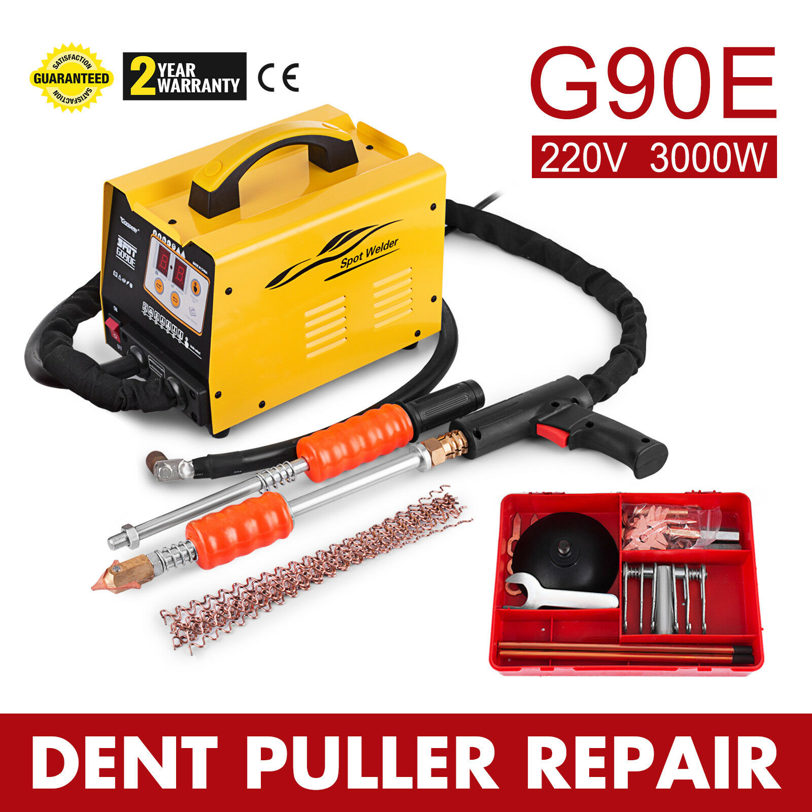 220V G90E Spot Puller Bonnet Dent Repair Welder Bonnet 3500A Panel 7 Channels