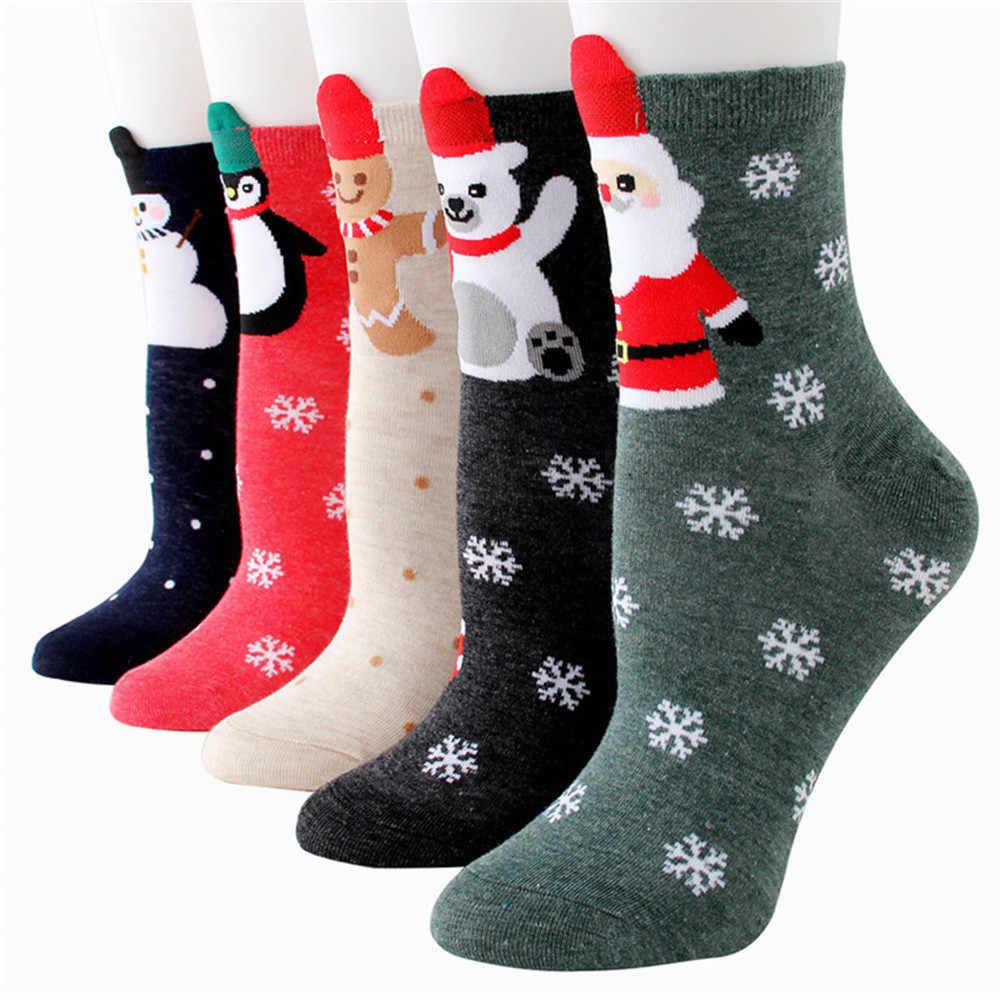 Детские носки в стиле Харадзюку с изображением рождественского оленя и снеговика; плотные новые зимние теплые длинные милые корейские носки; чулочно-носочные изделия для детей