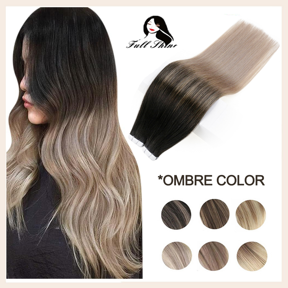 Full Shine Tape Hair Extensions Human Hair Extensions Ash Blonde Ombre 20 Pcs 50g Seamless Real Hair Skin Weft Remy Human Hair