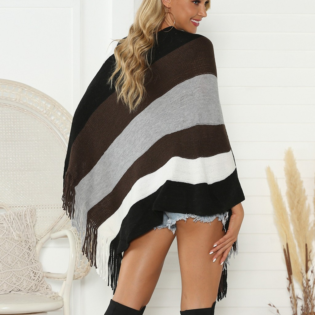 2020 Sweater Women Pullover Casual Tassel long Sleeve Loose Capes Shawl Knitted Cover Up Casaco Feminino ropa mujer invierno