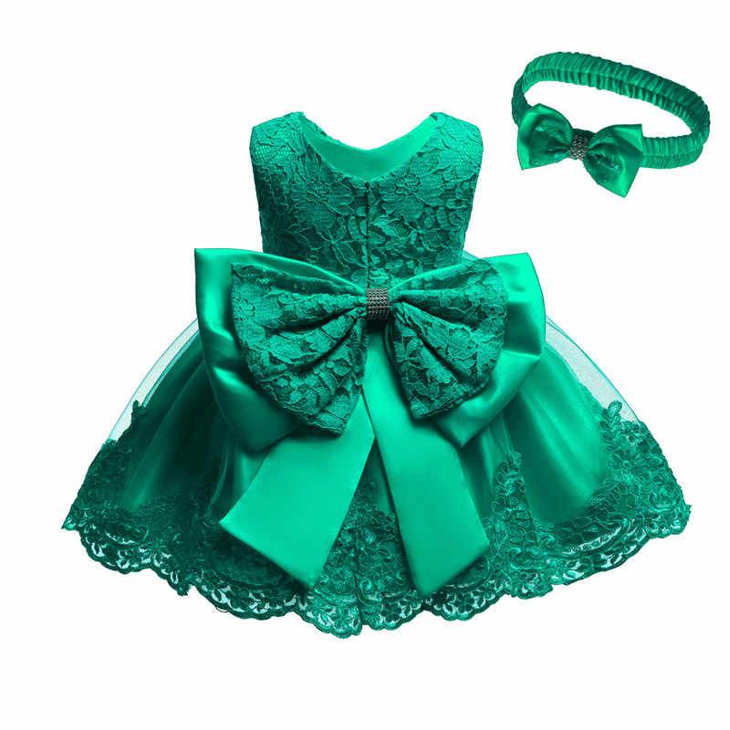 Платье для новорожденных девочек платья на день рождения для девочек 1 год элегантное праздничное платье принцессы с кружевным бантом одежда с цветочным рисунком для девочек Vestido