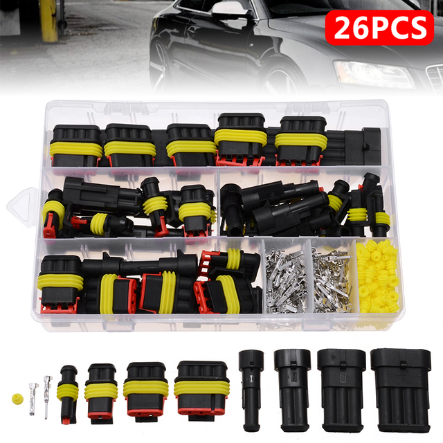 26 Sets 1 4 Pin Way 300V 16A Waterproof Car Auto Electrical Wire Connector Plug Kit for Auto Car Marine Replacement Parts