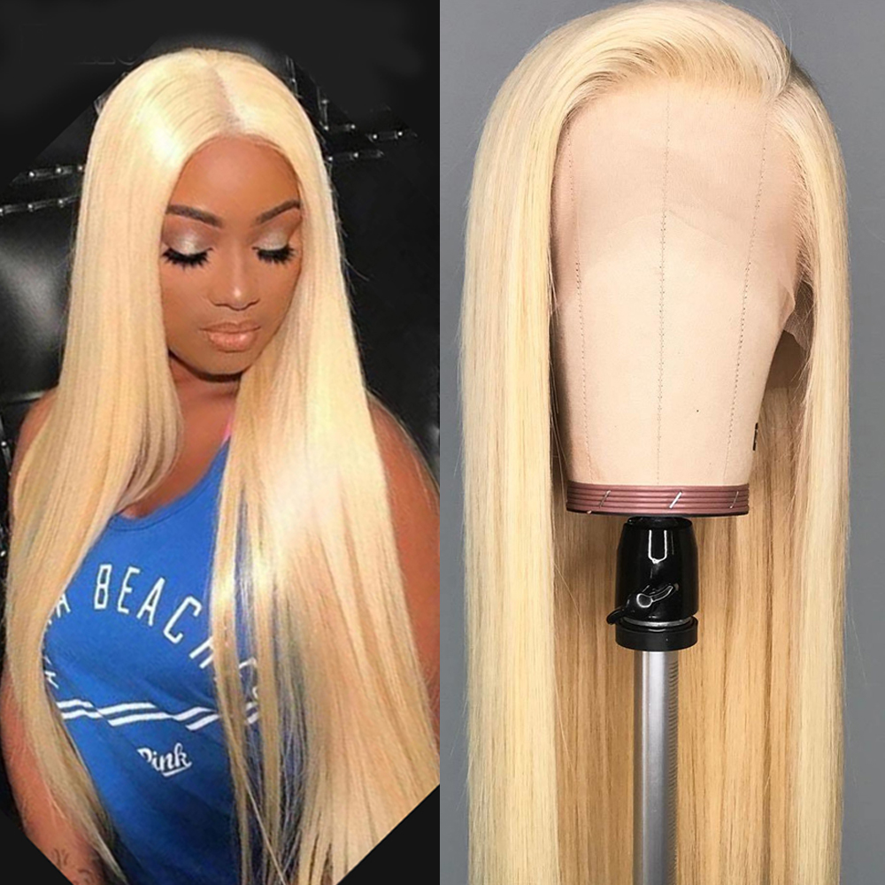 BEAUDIVA #613 Blonde Lace Wigs Silky Brazilian Straight Human Hair 13*4 Lace Frontal Human Hair Wigs
