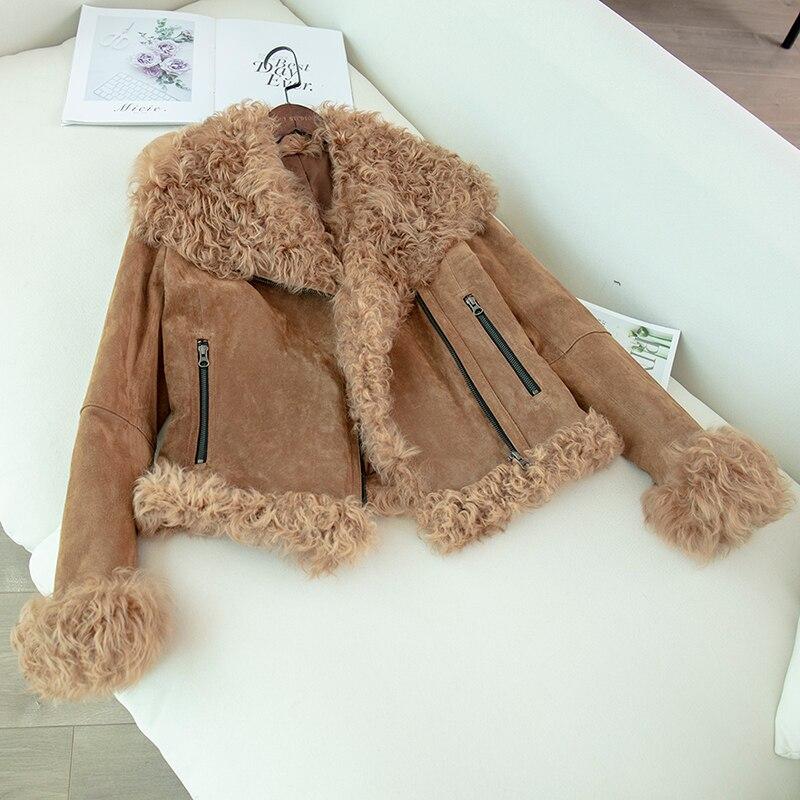 Veste en cuir véritable avec col en fourrure de mouton 2019 hiver nouvelle mode moto véritable manteau en peau de porc femmes vestes surdimensionnées
