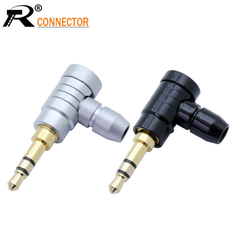 Jack <font><b>3.5mm</b></font> 3 Pole Stereo Audio Right Angle Barss Plug Jack Cable Solder Adapter <font><b>Connector</b></font> image