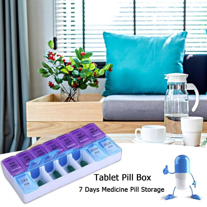 14 Grids 7 Days Weekly Pill Case Medicine Dispenser Pill Box Splitters Storage Box Kids Deciduous Tooth Box Outdoor Medical Kit