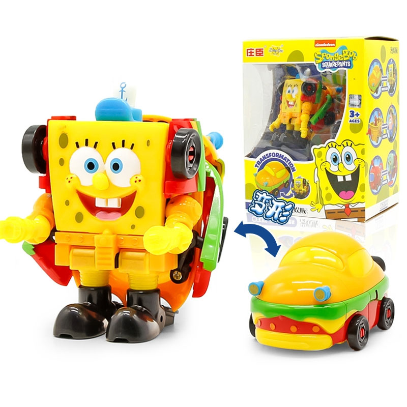High Quality ABS SpongeBob Patrick Star Octopus Transformation Toy Action Figures Deformation Car Steamship And Submarine Toys