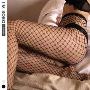 Image 1 - IMBOBO 2020 sexy fishnet female stockings ladies tights Taste Mesh black Pantyhose womens High waisted sexy lingerie stockings