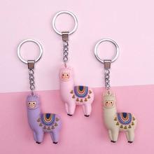 New Qualitied Original cartoon Lamb cute Luck Zodiac Alpaca keychain key ring Simulation Animals Pendant Jewelry Birthday gift