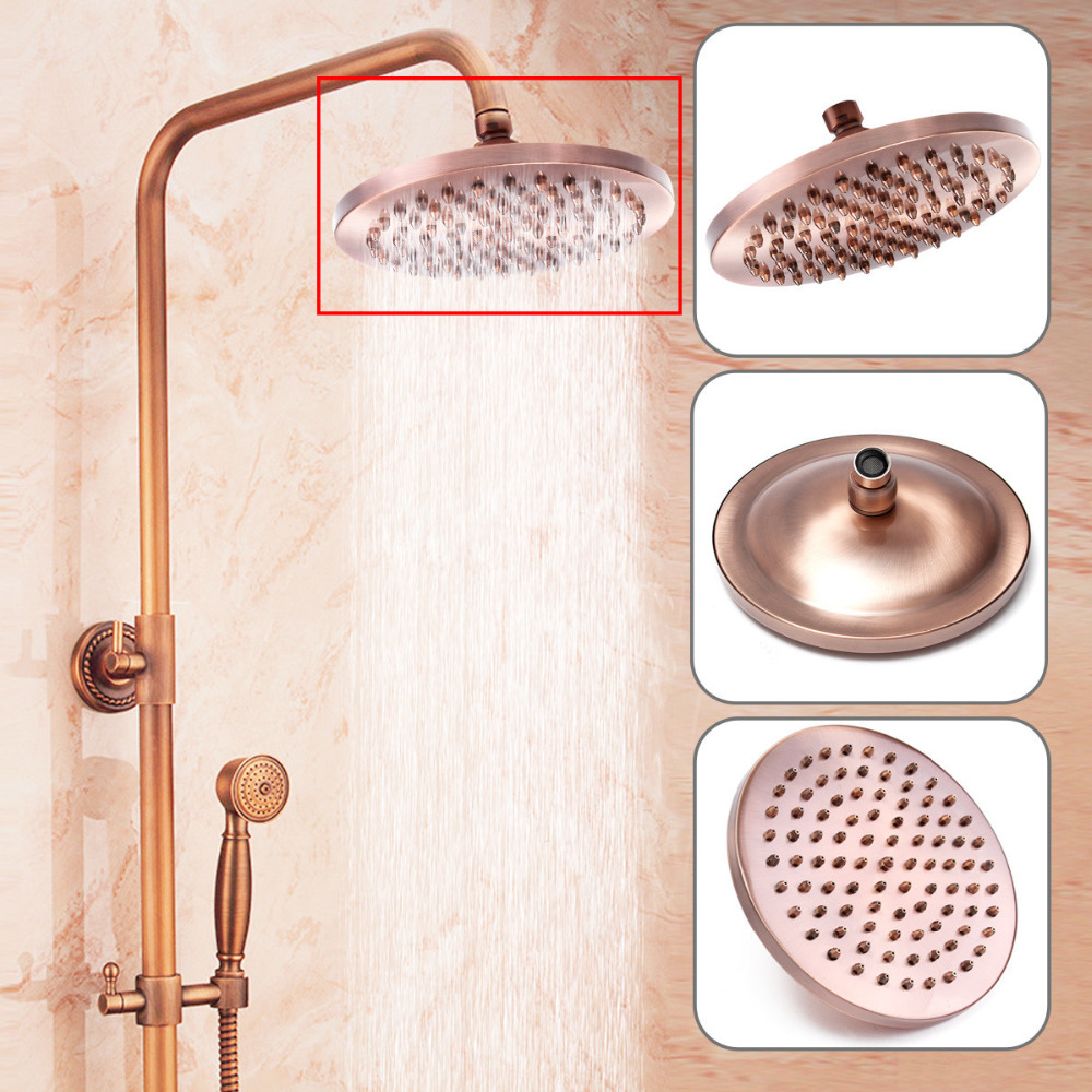 8 Inch Round Vintage Retro Bathroom Rain Shower Head Antique Red Copper Hose Top Shower Sprayer Bathroom Single Head Tools