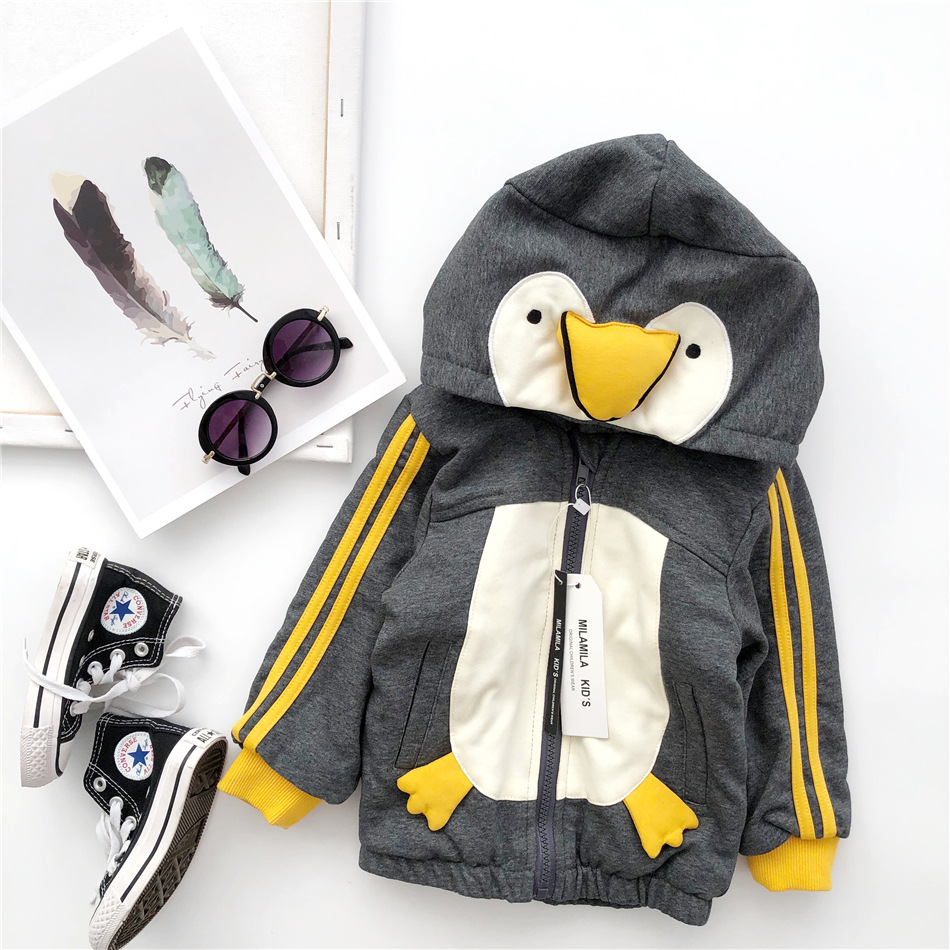 Tonytaobaby New Autumn and Winter Clothes for Boys and Girls Cute Gray Penguin Animals Velvet Jackets  Kids Jacket