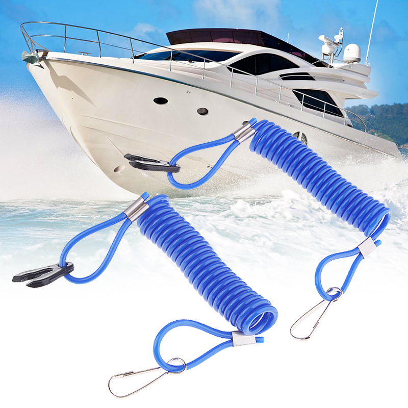 2 Pcs Marine Motor Kill Stop Switch & Safety Tether Lanyard For Yamaha Outboard Engine Motor Parts Blue 9cm Boat Accessories