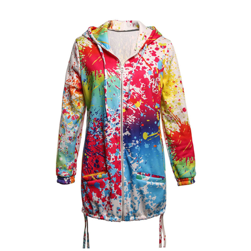 Arrival Brand 2020 Newest Women's Jacket Spring Long Sleeve Hooded Ink Painting Colorful Windbreaker Parka Coat Outwear Clothes