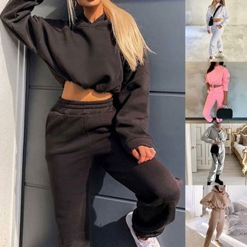 Oeak Women Two Piece Set Outfits Autumn Women's Tracksuit Oversized Hoodie And Pants Casual Sport Suit Winter 2 Piece  Set 1