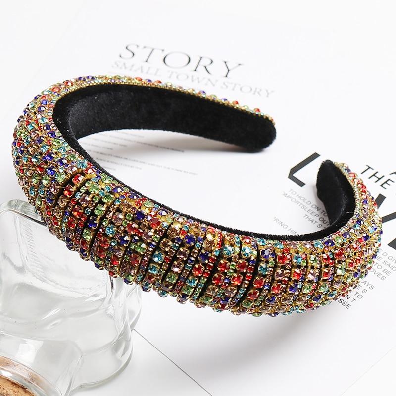 CN Full-Crystal-Hair-Bands Padded Hair-Hoop Hair-Accessories Diamond Headband Shiny Baroque