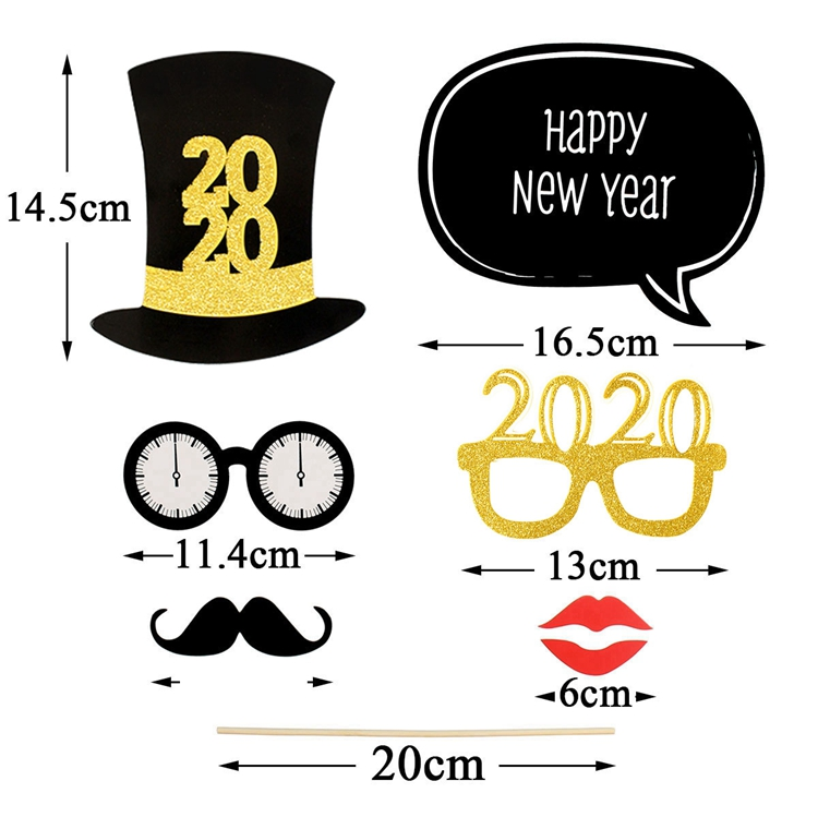 32pcs Happy New Year 2020 Photo Booth Props Christmas Decorations