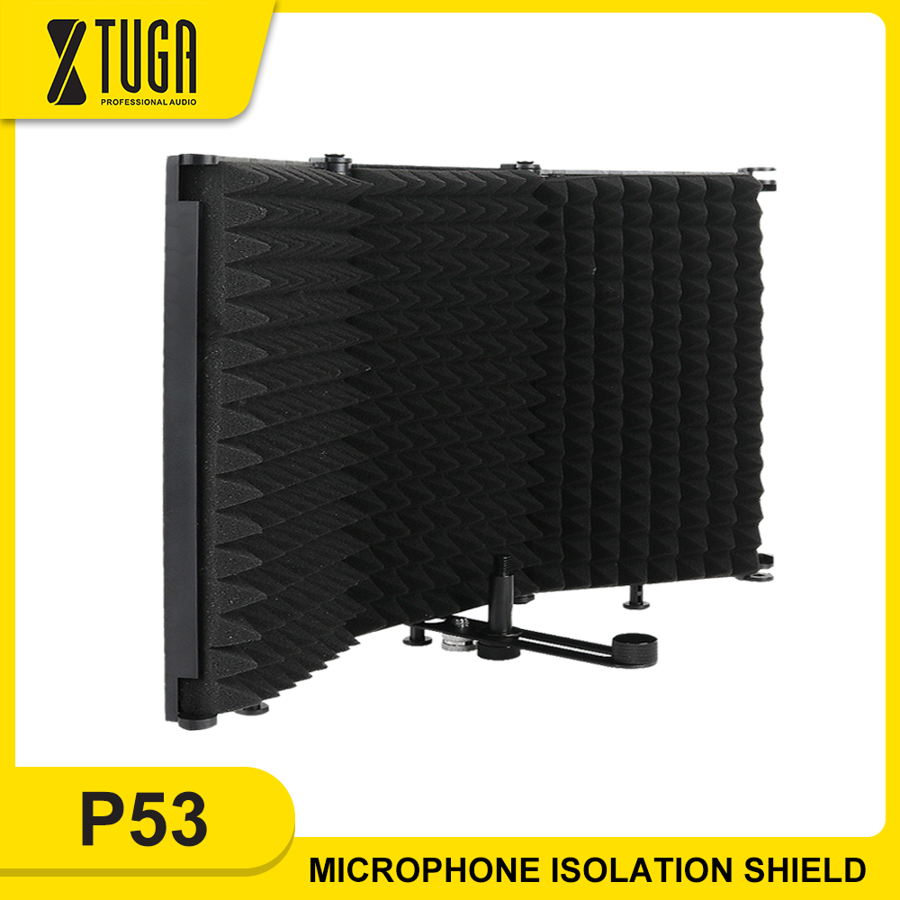 XTUGA 3 Pannels Microphone Isolation Shield Foldable Portable High Density Sound Absorbing Foam Panel for Studio