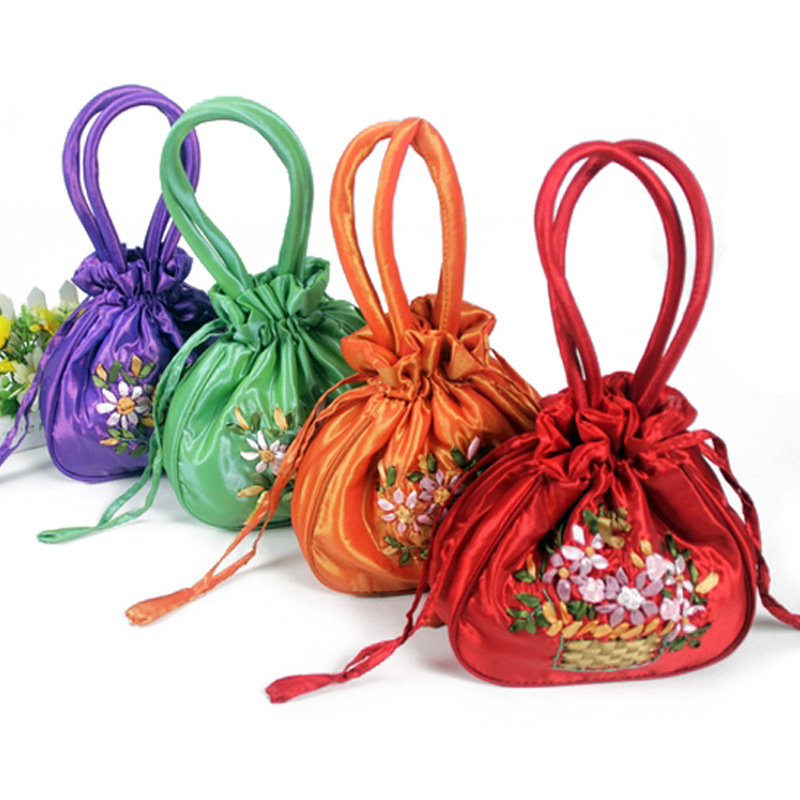 Ribbon Embroidery Lace Buds Bag Marriage With A Festive Candy Bag Storage Carry Bag Mini Double Handle Wrist Wrap